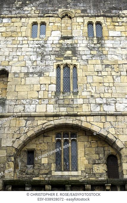 Detail of Monk Bar, one of the gateways in the historic city walls at York, UK