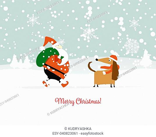 Santa Claus with dog, symbol of 2018. Christmas card. Christmas card. Vector illustration
