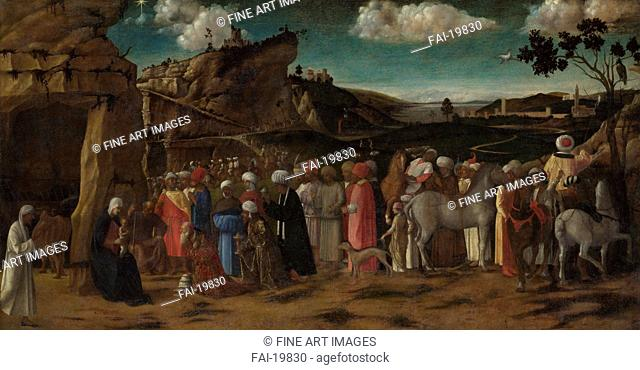 The Adoration of the Kings. Bellini, Giovanni, (Workshop) . Oil on canvas. Renaissance. c. 1480. Italy, Venetian School. National Gallery, London