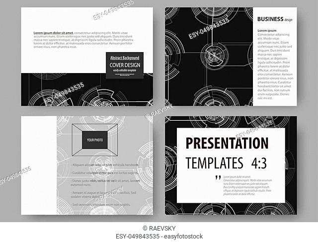 Set of business templates for presentation slides. Easy editable layouts, vector illustration. High tech design, connecting system