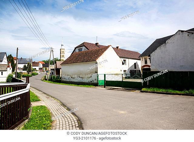 Old buildings in rural village Scmicz - Schmitsch, Opole Voivodship, Poland