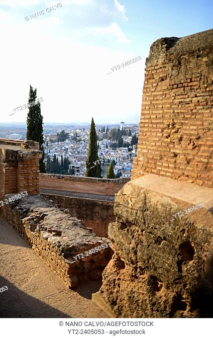 View of Granada from La Alcazaba at The Alhambra, palace and fortress complex located in Granada, Andalusia, Spain