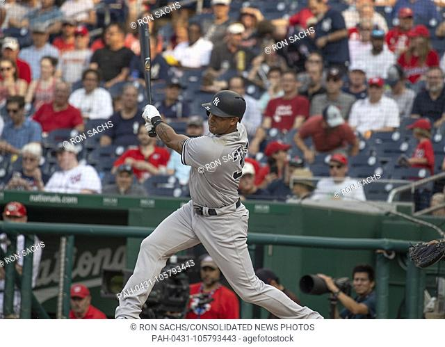 New York Yankees center fielder Aaron Hicks (31) doubles in the first inning against the Washington Nationals at Nationals Park in Washington, D.C