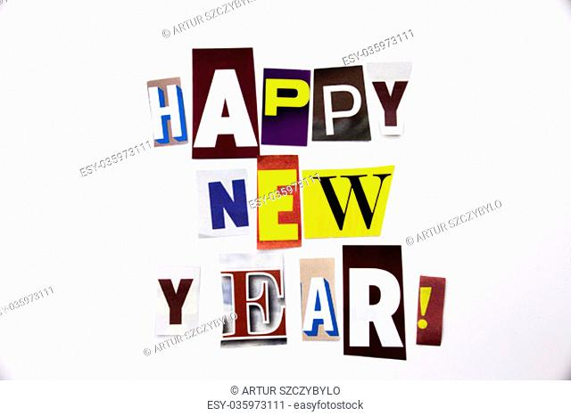 A word writing text showing concept of Happy New Year made of different magazine newspaper letter for Business case on the white background with space