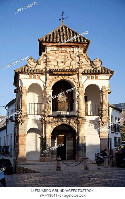Tribune chapel of the Virgen del Socorro 1715 in the square Portichuelo, Antequera, Andalusia, Spain