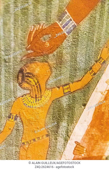 UNESCO World Heritage, Thebes in Egypt, Valley of the Nobles, tomb of Nakht. Detail of the fishing in the marshes scene : A young girl turning her head to watch...