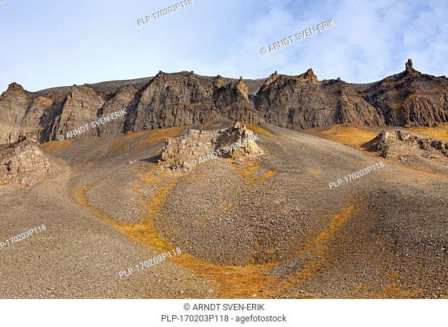 Scree below eroded rock formations at Adventdalen, Longyearbyen, Svalbard / Spitsbergen