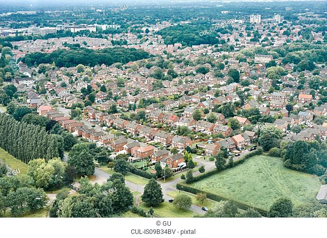 Aerial view of suburban area, Altrincham, Cheshire, England