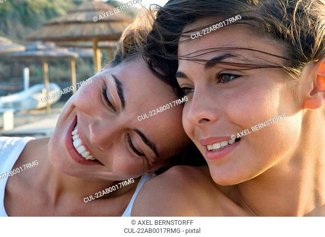 Close-up of two attractive smiling women