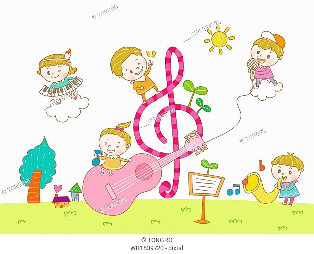several kids playing with musical instruments