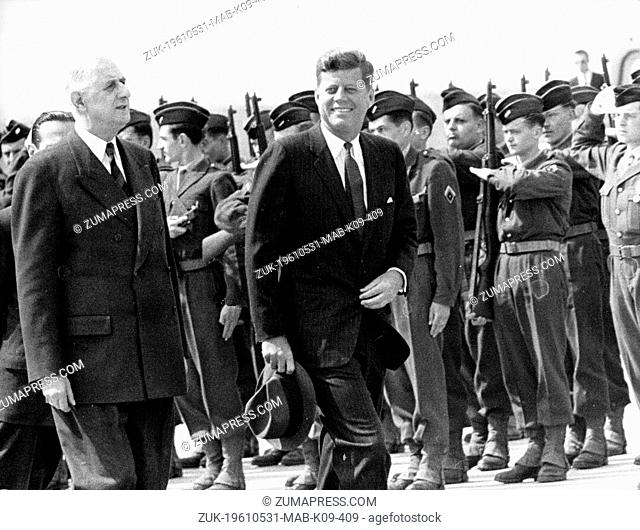 May 31, 1961 - Paris, France - President JOHN F. KENNEDY accompanied by General CHARLES DE GAULLE inspecting the Guard of Honour on arrival at Orly Airport