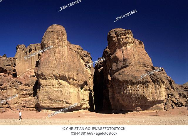 Sandstone cliffs in Timna Valley featuring King Solomon's Pillars, rock formation caused by wind and water erosion, Negev, Israel, Middle East, Western Asia