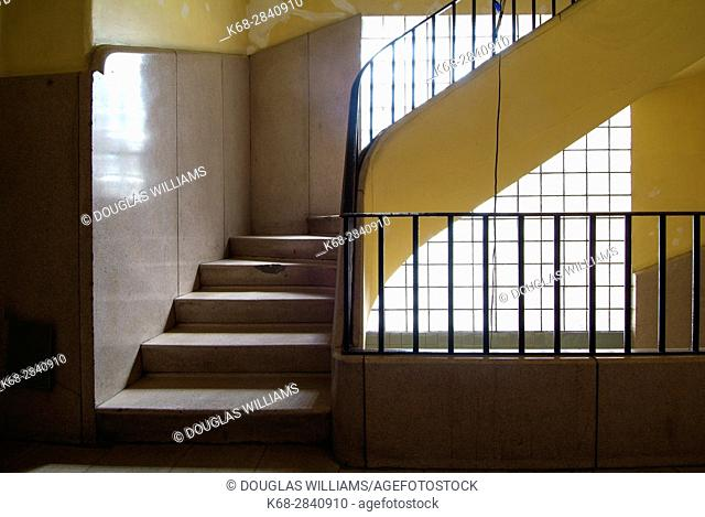 A stairwell in an older apartment inMexico City, Mexico,