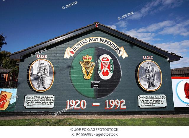 Loyalist paramilitary wall mural, newtownards road, Belfast, Northern Ireland, UK  This mural commemorates the mostly unionist/protestant/loyalist branches of...