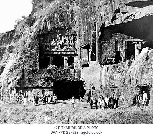 old vintage lantern slide of ajanta caves, aurangabad, Maharashtra, India, Asia