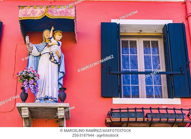 Detail of the typical house of Burano, Venice, Veneto, Italy, Europe