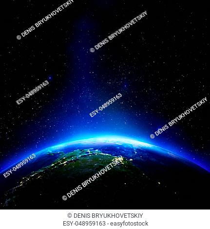South America from space. Elements of this image furnished by NASA. 3d rendering