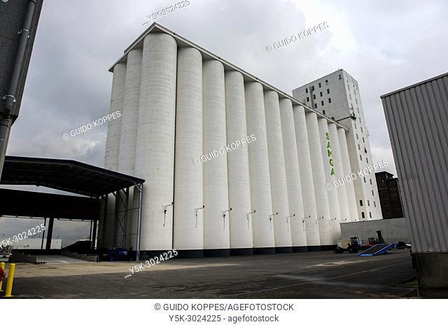 Antwerp, Belgium. Newly build and modern grane silo's inside Antwerp Harbour