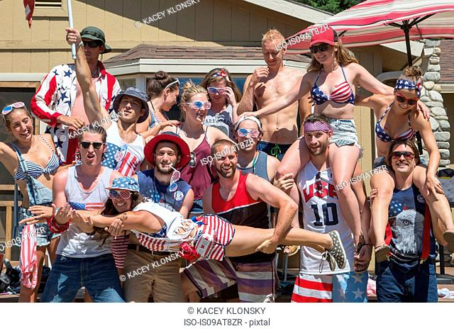 Portrait of adult friends celebrating Independence Day, USA