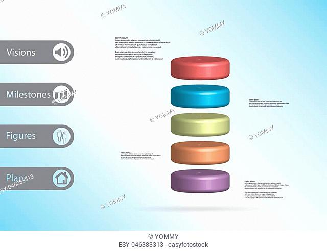 3D illustration infographic template with motif of cylinder horizontally divided to five color slices with simple sign and sample text on side in bars