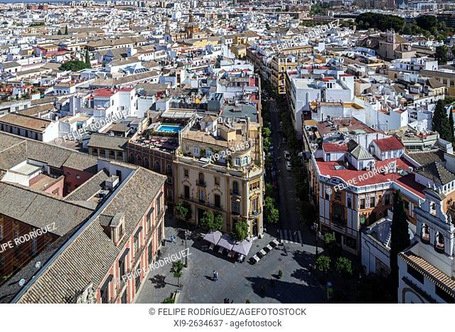 Eastward view of Seville city center from the Giralda tower, Spain