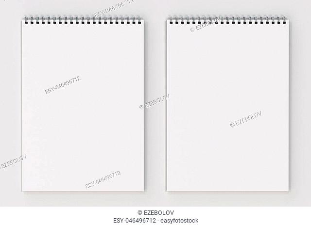 Blank white notebook with metal spiral bound on white background. Business or education mockup. 3D rendering illustration
