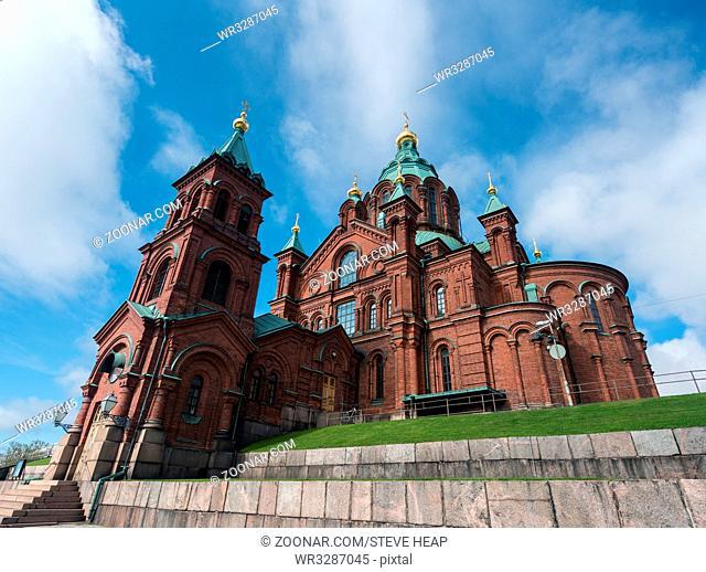 Gold domes on Eastern Orthodox Uspenski Cathedral in Helsinki, Finland
