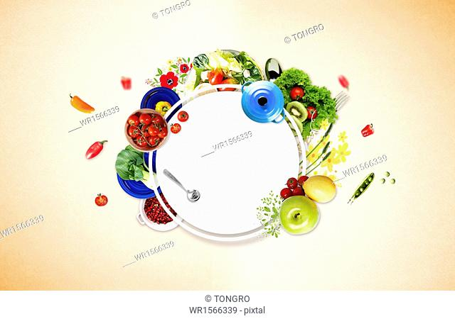 a set of fruits and vegetables next to a copy space