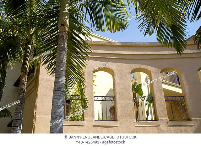 Palm trees adorn arches with wrought iron rails, San Diego, California