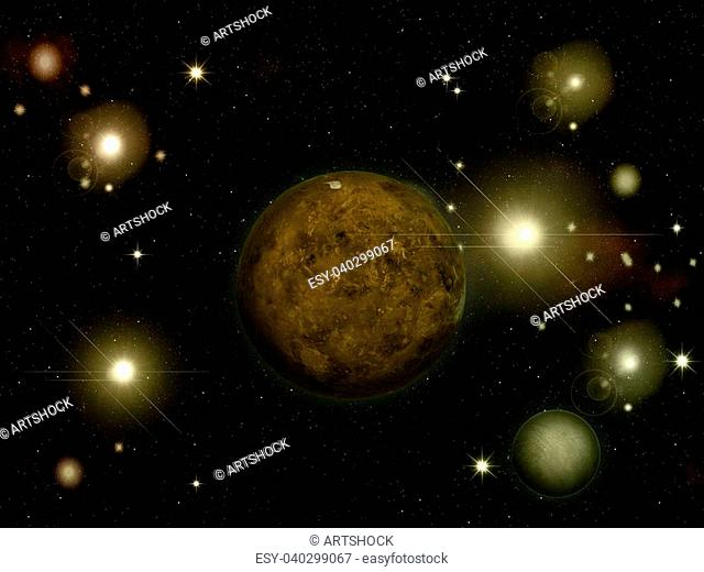 Illustration of space stars and planets of yellow color
