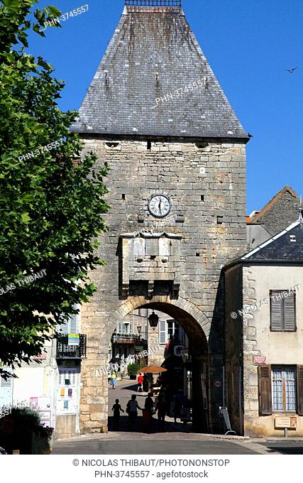France, Bourgogne Franche Comte region (Burgundy), Yonne department, Noyers or Noyers sur Serein (most beautiful village of France) Peinte gate