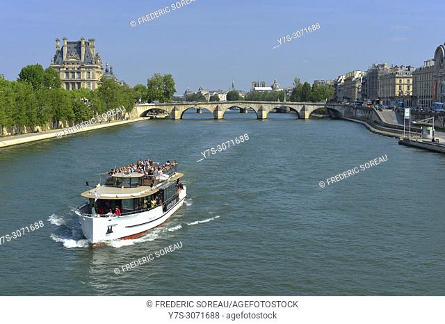 River Seine Cruise boat in Paris, France, Europe