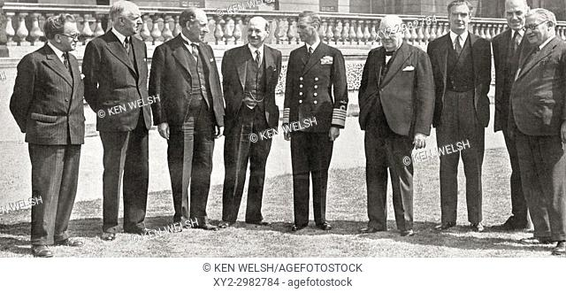 Members of the War Cabinet of the All Party Government during WWII, from left to right, Mr. Morrison (Home Office), Lord Woolton (Reconstruction)