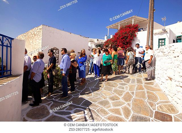 Local people celebrating a traditional festivity at the Kastro-Castle area, Sikinos, Cyclades Islands, Greek Islands, Greece, Europe