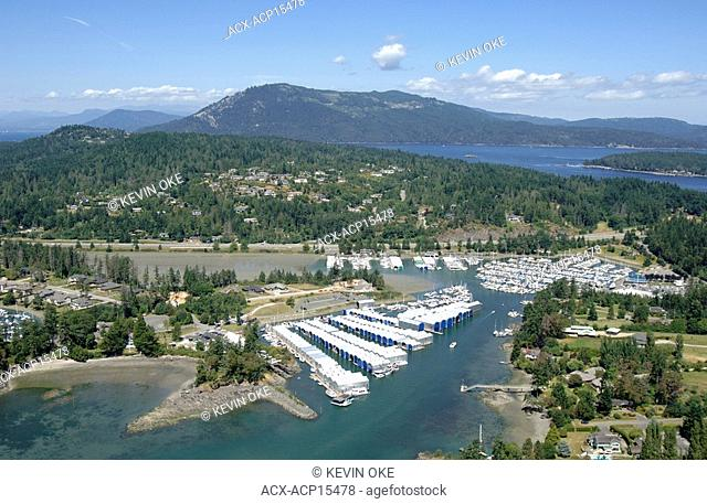 Sidney, BC Marinas. Aerial photograph of Vancouver Island and the Southern Gulf Islands. British Columbia, Canada