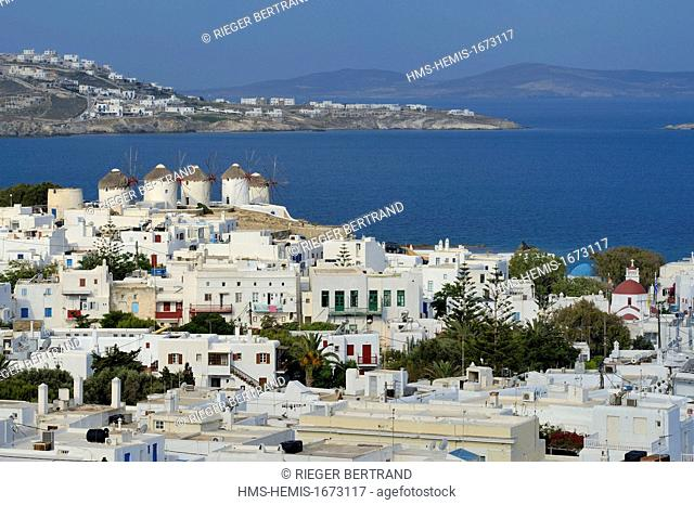 Greece, Cyclades islands, Mykonos island, Chora (Mykonos town), the five mills (Kato Mili)