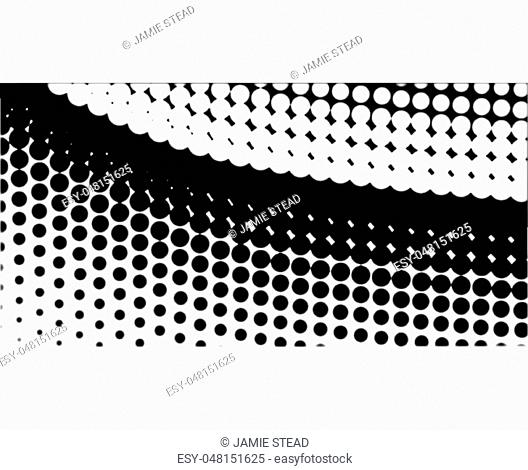 A half tone image with white dots set against a black background and black dots against a white background