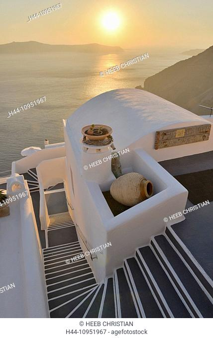 Europe, Aegean, Cyclades, Greece, Santorini, Thira, Island, Greek, Thira, stair, steps, sunset, sun, sea, travel, destination, icon, resort, hotel