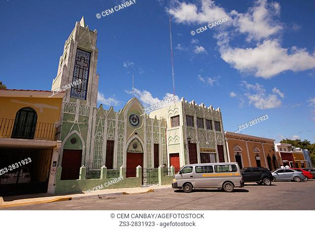 View to the Primera Iglesia Evangelica Nacional Presbiteriana-AR, Campeche City, Campeche State, Mexico, Central America