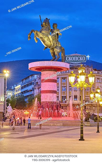 Colorful fountain and Alexander the Great statue at evening, Macedonia Square, Skopje, Republic of Macedonia