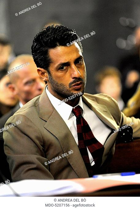TV personality and entrepreneur Fabrizio Corona in court during his trial. Milan, Italy. 11th November 2010