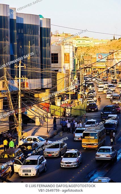 Heavy traffic in downtown Dohuk, Kurdistan Region, Northern Iraq