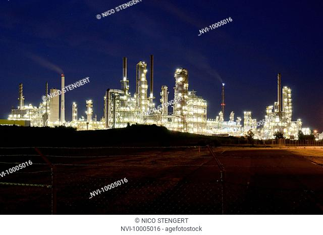 Petro chemical plant at night, Leuna, Germany