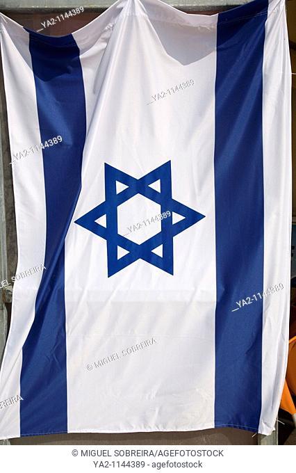 Israeli flag suspended