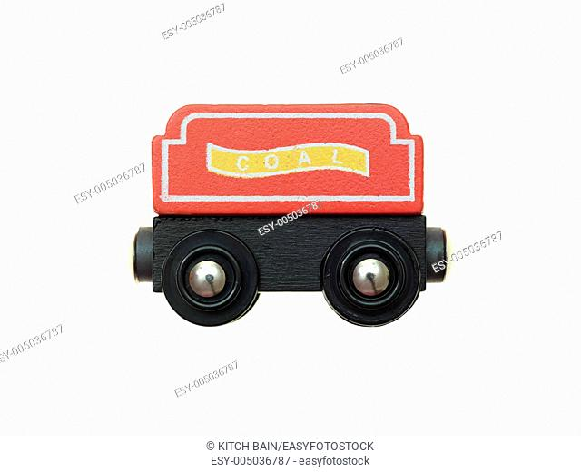 A toy train isolated against a white background