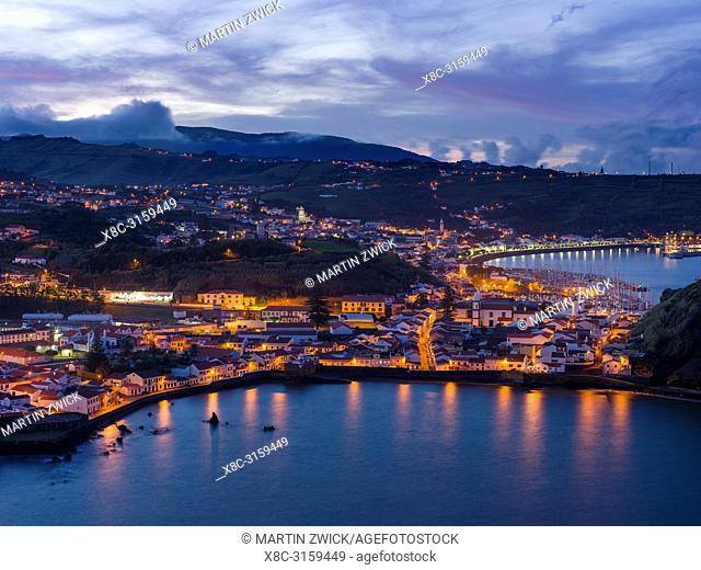 Horta, the main town on Faial. Faial Island, an island in the Azores (Ilhas dos Acores) in the Atlantic ocean. The Azores are an autonomous region of Portugal