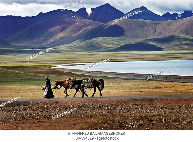 Tibetian women with horses, Nam-Tsho-Lake, Tibet