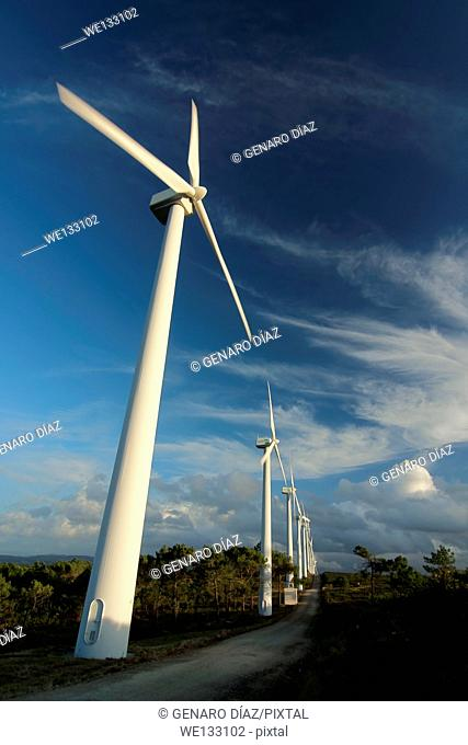 wind turbines with blue sky and clouds in Galicia, Spain