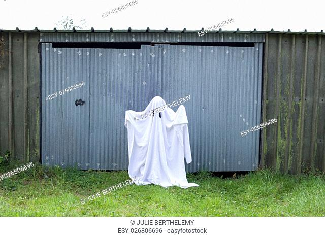 A white ghost in front of a garage door