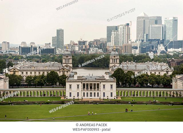 United Kingdom, England, London, Greenwich, Old Royal Naval College and Financial district